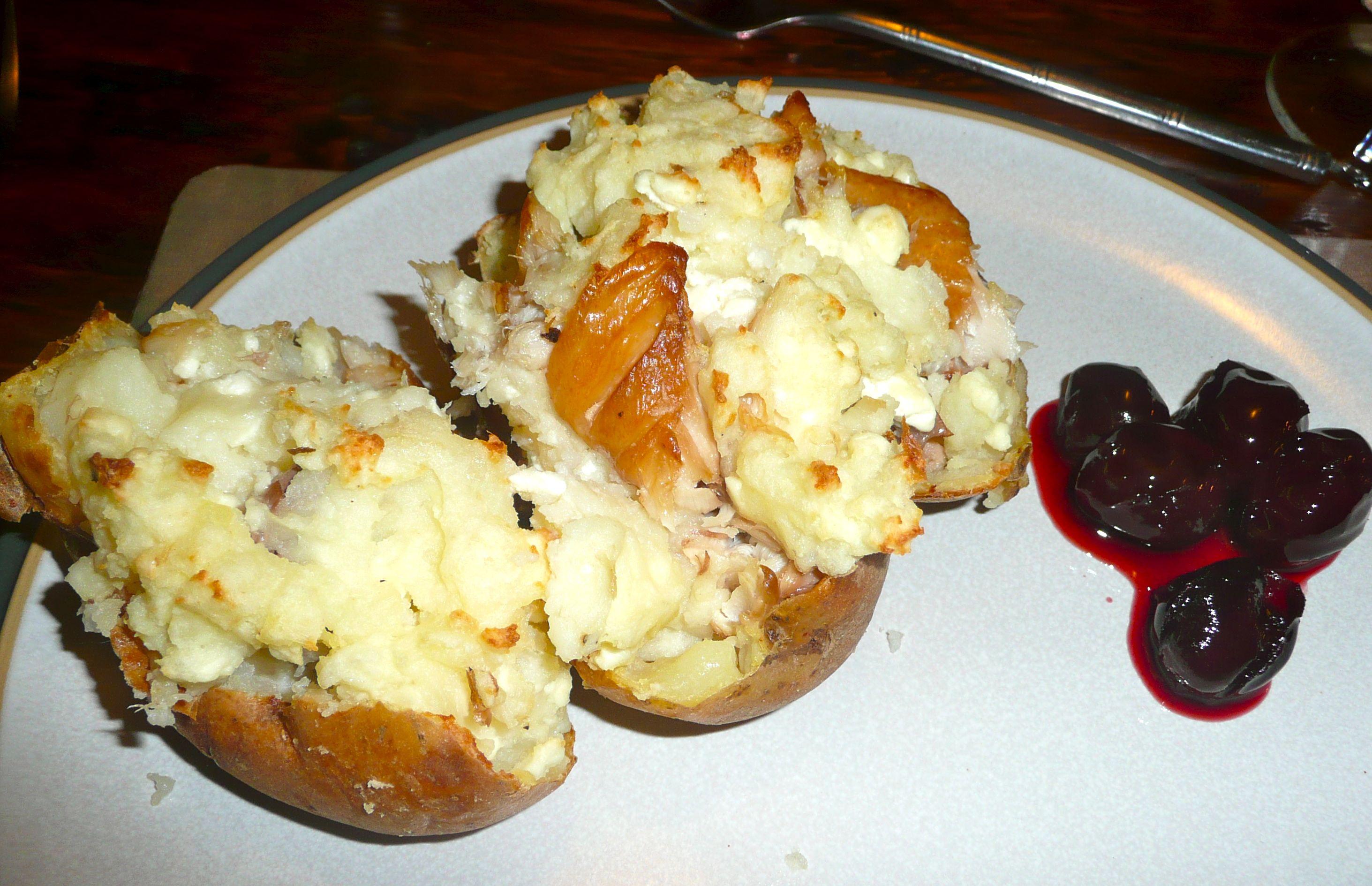 mackerel and feta stuffed potatoes
