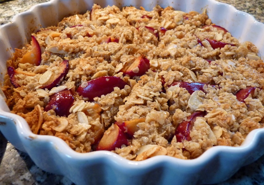 plum and almond flapjack