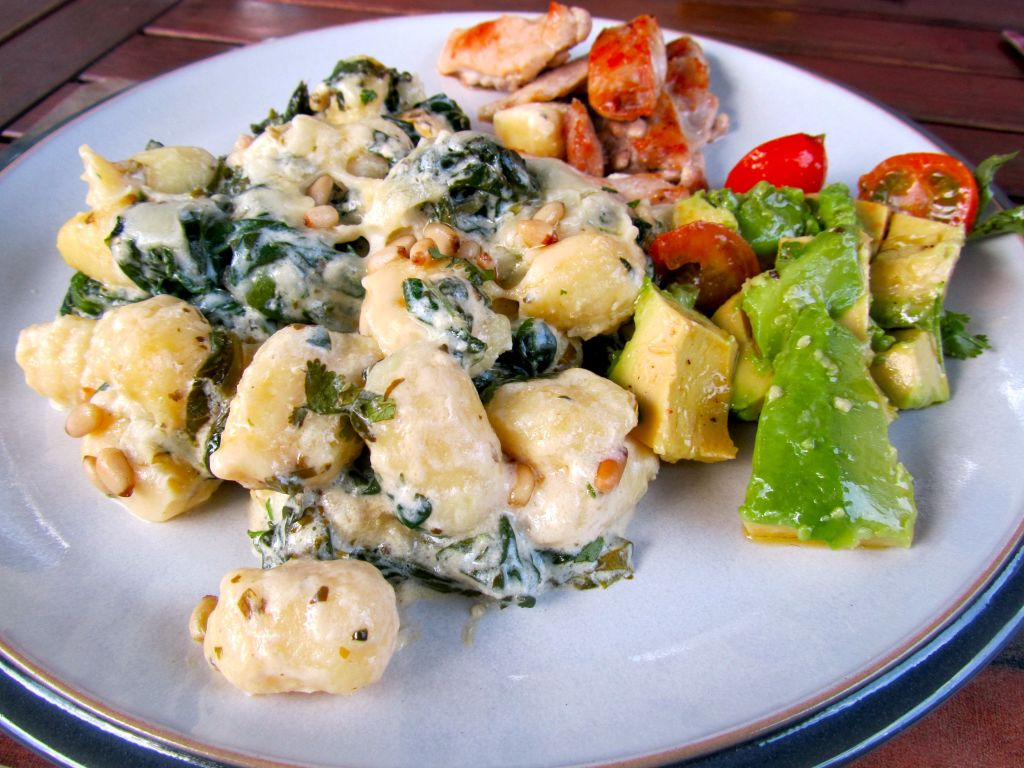 Quark garlic and herb gnocchi