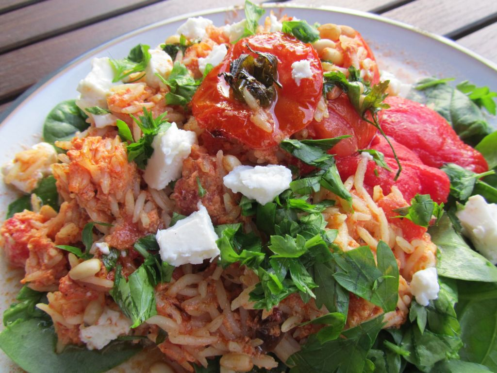 Quark Tomato and Herb rice stuffed tomatoes