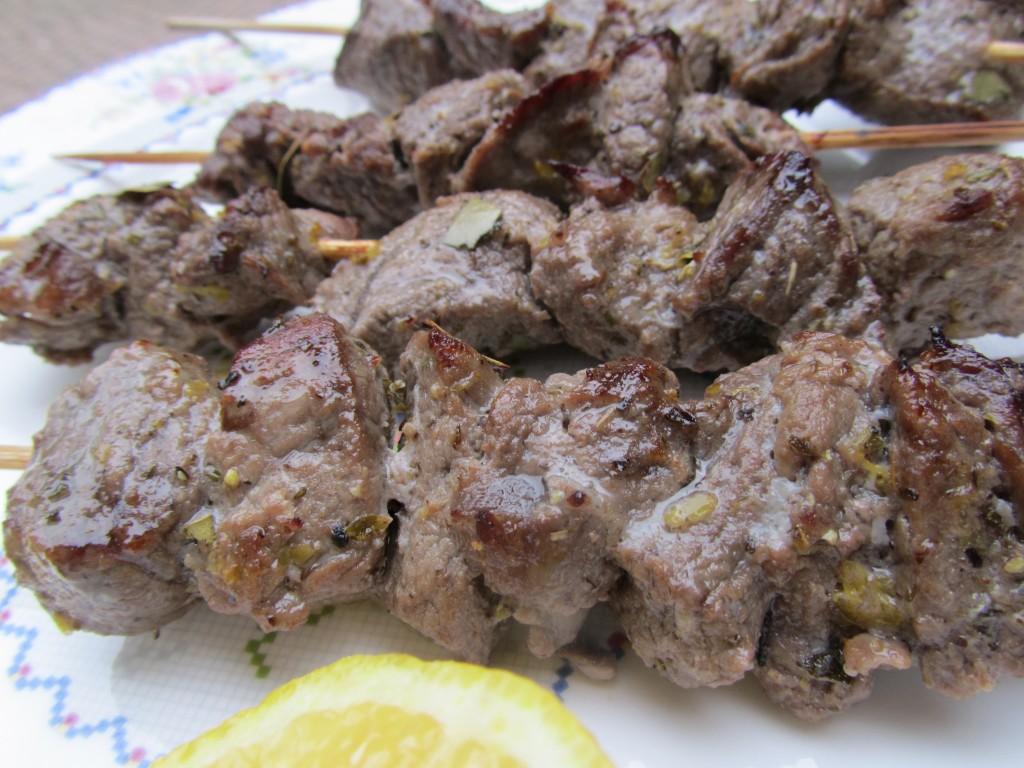 Marinated beef skewers