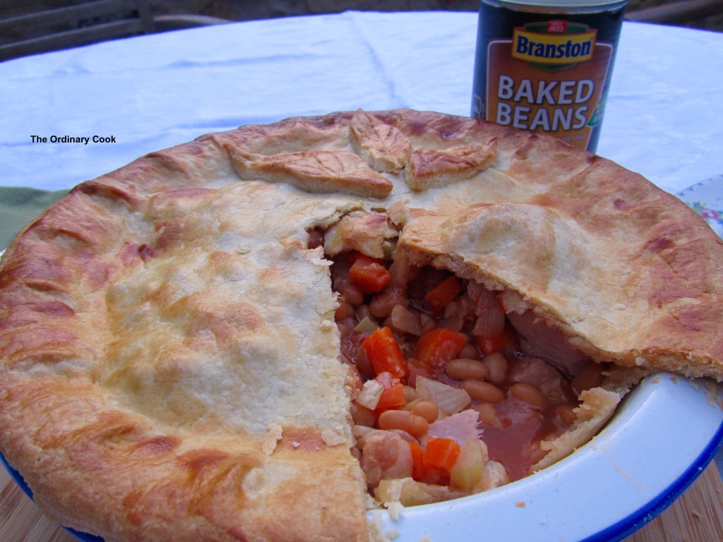 Branston bean and ham pie