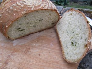 Wild garlic loaf sliced