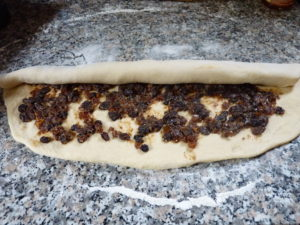 Rolling up mincemeat swirls