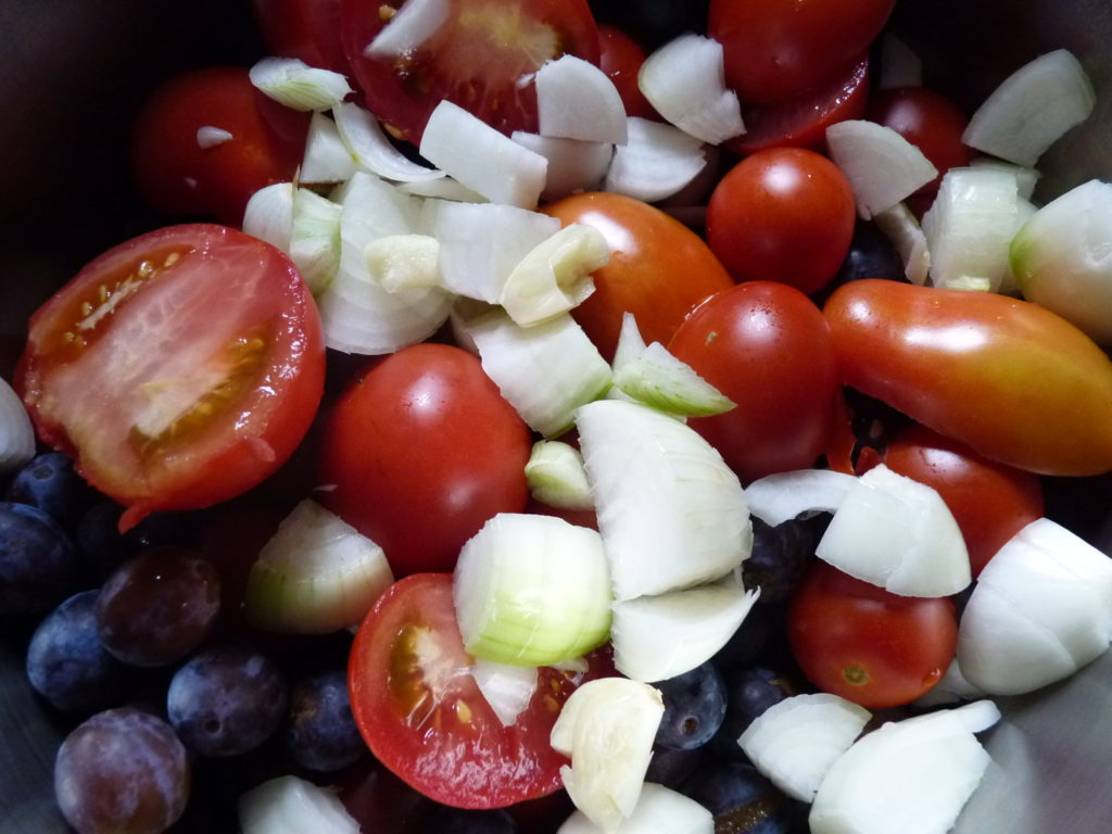 damsons, tomatoes and onions